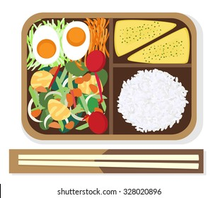 Japanese Box Lunch (Bento) Fried vegetables and egg. vector illustration