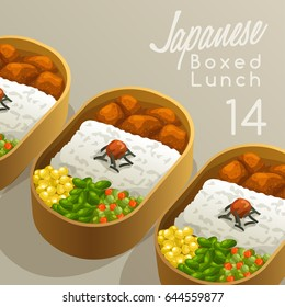 Japanese Boxed Lunch Set : Vector Illustration