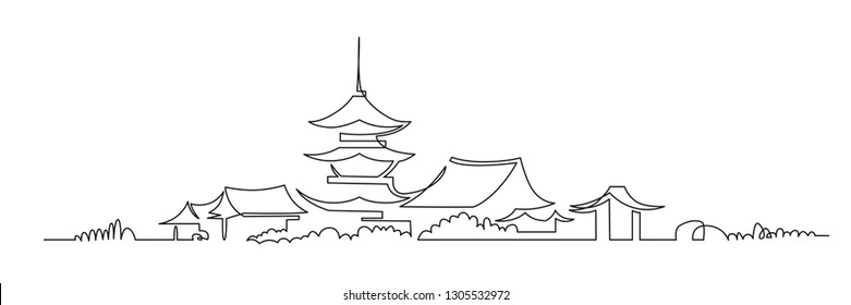 Japanese Buddhist temple continuous one line vector drawing. Pagodas hand drawn silhouette. Traditional shrine, oriental architecture panoramic landscape. Isolated minimalistic illustration