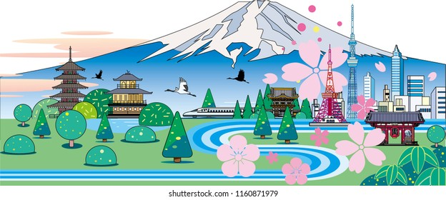 Japanese buildings and sightseeing in nature