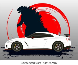 Japanese car Nissan Gtr with monster Godzilla background silhouette. fast furious Paul walker memory
