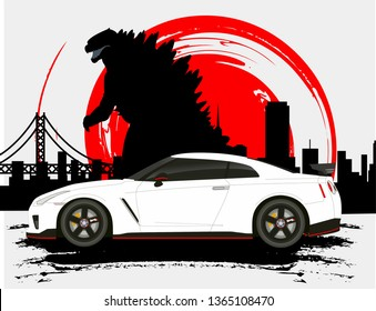 Japanese car Nissan Gtr with monster Godzilla background city silhouette and with Japanese flag. fast furious Paul walker memory