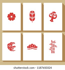 Japanese cards vector with Crest icons. Flower, leaf, hammer, wave, pine, bamboo symbols.