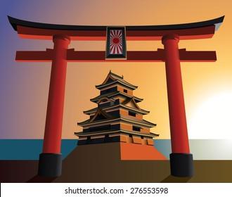 Japanese castle on the rising sun