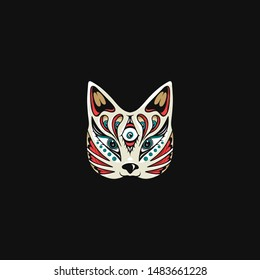 Japanese cat mask, kitsune illustration, Isolated vector illustration, mascot cat mask, editable vector for t shirt and other use
