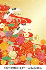Japanese celebratory background of cranes and flowers