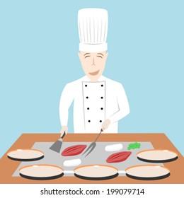 Japanese chef cooking on teppanyaki