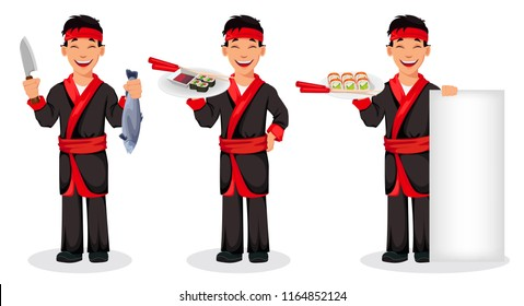 Japanese chef cooking sushi rolls, set of three poses. Handsome cartoon character holding knife and fish, holding sushi on tray and standing near blank banner. Vector illustration