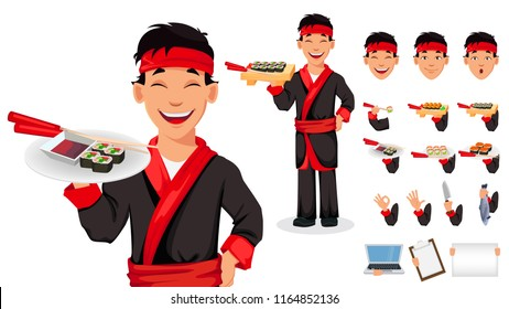 Japanese chef cooking sushi rolls. Handsome cartoon character, pack of body parts, emotions and things. Make your personal design. Vector illustration
