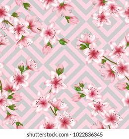 Japanese cherry blossom patter with pink grey geometric seamless vector background. Elegant sakura branch textile, apricot blossom fabric, japanese cherry spring flowering trees textile vector pattern