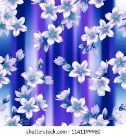 Japanese cherry blossom  sakura branches vector seamless pattern. Linen fabric, wallpaper vector background. Cherry flowers textile, spring tree blossom fabric, branches with violet blue flowers.
