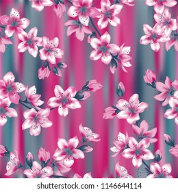 Japanese cherry blossom  sakura branches vector seamless pattern. Linen fabric vector background. Cherry flowers textile, spring tree blossom fabric, branches with flowers on magenta teal.