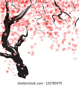 Japanese Cherry tree blossom. Watercolor