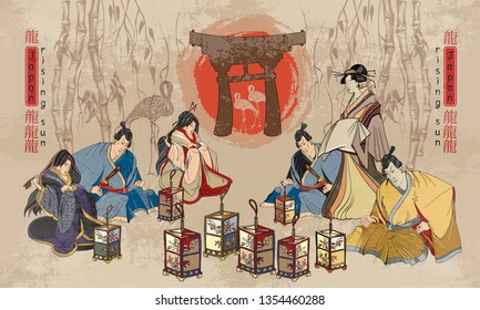Japanese and Chinese culture concept. Geisha and samurai warrior. Classical medieval engraving art. Template for clothes, textile, t-shirt design