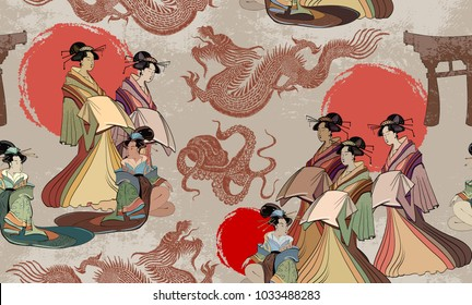 Japanese and Chinese culture seamless pattern. Traditional Japanese culture, red sun, dragons and geisha woman pattern. Japan art