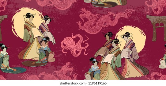 Japanese and Chinese culture seamless pattern. Red sun, dragons and geisha woman pattern. Japan art