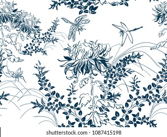 japanese chinese design sketch ink paint style seamless pattern chrysanthemums dragonfly lespedeza