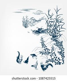 japanese chinese design sketch ink paint style card background village chicken birds bulrush pond