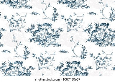 japanese chinese design sketch ink paint style card background bamboo blossom peach pine tree pattern