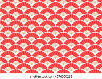 Japanese and Chinese Fans Seamless Pattern. Vector and Illustration.