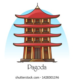 Japanese or chinese pagoda. China or Japan building with eaves. Religion tower panorama. Buddha or burma temple facade. Asian town or city worship place. Architecture and religion theme