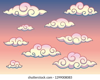 Japanese or Chinese Swirl Curly Style Clouds in The Sky Decoration Vector Illustration