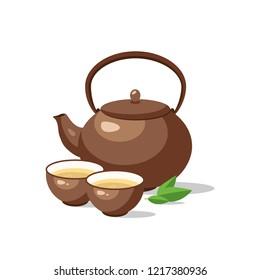 Japanese, chinese tea ceremony set. Ceramic teapot and cup bowls of green tea isolated. Vector illustration.