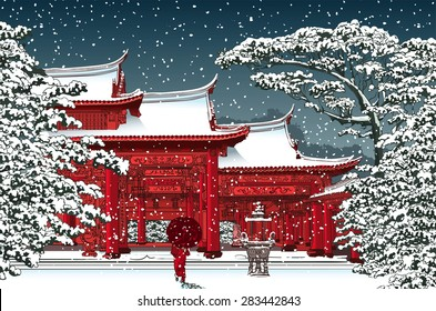 Japanese or chinese temple under snow - Vector illustration
