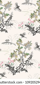 japanese chinese  vector design ink flower engraved colorful seamless pattern landscape birds grass flower bridge mountain pond