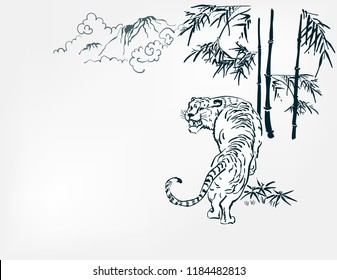 japanese chinese vector design tiger card nature