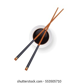 Japanese chopsticks sushi and soy sauce in a bowl. Top view. Vector illustration.