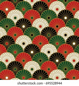 Japanese chrysanthemum pattern in four colors were arranged like wave pattern
