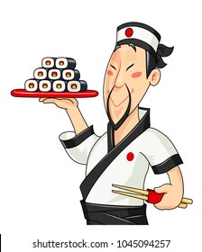 Japanese cook with sushi. Traditional food. Profession. Chief meal. Fast service. Isolated white background. Vector illustration.