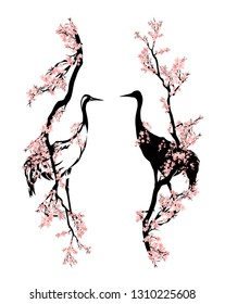 japanese crane bird walking among blooming sakura branches - asian style spring season vector design