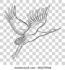 Japanese crane isolated drawing. Stock line vector illustration.