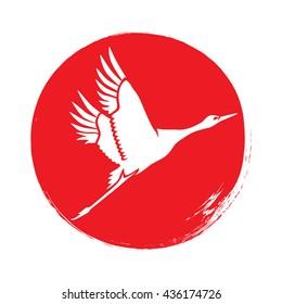 Japanese crane silhouette against red sun. Vector illustration.