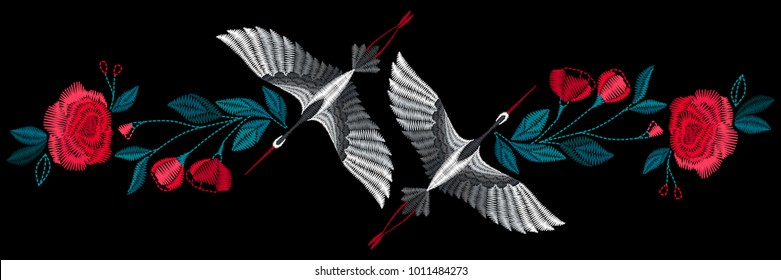 Japanese cranes with flowers.  Embroidery for Fashion. Vector illustration.