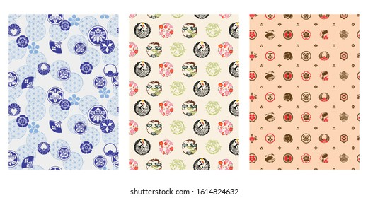 Japanese Crest Abstract Vector Background Collection