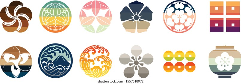 Japanese crest icon with colorful theme vector.Fuji mountain, cherry blossom flower, crane, coin and wave symbol.