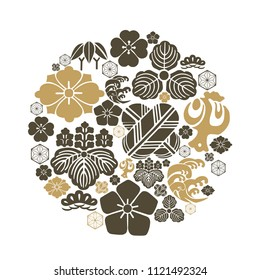 Japanese crest icons vector. Black and gold template. Flower, leaves, tree symbols.
