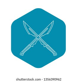 Japanese crossed swords icon. Outline illustration of Japanese crossed swords vector icon for web