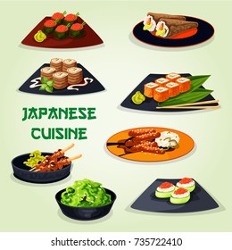 Japanese cuisine or asian restaurant lunch menu icon. Seafood sushi roll and temaki with rice, fish, shrimp, seaweed and caviar, grilled chicken yakitori, teriyaki pork, pancake roll with sweet cheese