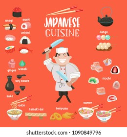 Japanese cuisine. Japanese desserts and sweets, tempura, sushi, rolls, onigiri. Soups, noodles, sake. Japanese chef with a large cooking knife. Vector illustration in cartoon style.
