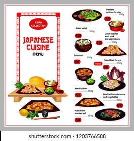 Japanese cuisine menu. Vector dessert amitsu-furutsu and kaiso salad, undon noodles with pork and vegetables food, suimono and salad kani furuco, yasai tyahan and beef, smoked eel