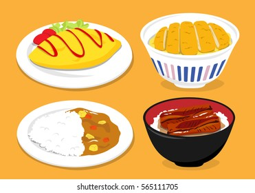 Japanese cuisine: Omurice (omelette with fried rice), Curry rice, Tonkatsu (Pork and egg on rice), Unadon (grilled eel on rice)