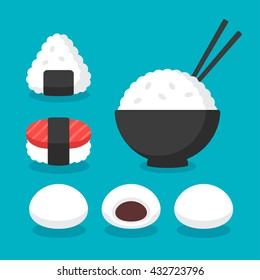 Japanese cuisine rice dishes icon set. Bowl of rice with chopsticks, onigiri and sushi, mochi rice cakes or dumplings. Flat cartoon vector icons.
