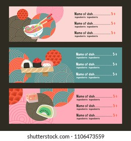 Japanese cuisine. A set of traditional Japanese dishes. Vector illustration in cartoon style. Colorful menu template of Japanese cuisine cafe.