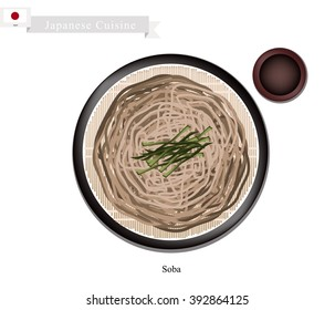 Japanese Cuisine, Soba or Buckwheat Noodles and Dried Seaweed Served with A Dipping Sauce. One of The Most Popular Dish in Japan.