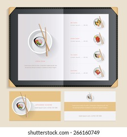 japanese cuisine sushi recipes menu catalog template with food illustrations and sushi restaurant business card mockups- clean minimalistic design