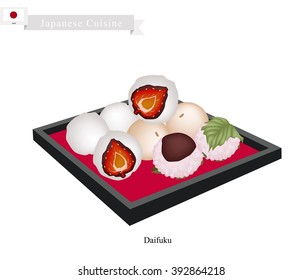 Japanese Cuisine, Japanese Traditional Confectionery Daifuku and Mochi Often Served with Tea. One of The Most Popular Dessert in Japan.